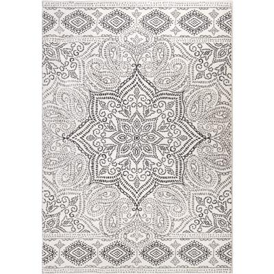 "8242 5X8 PAISLEY POINTS WHITE 5'3"" x 7'6"""