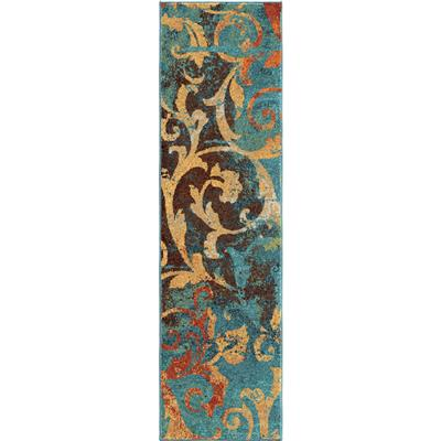 "2818 2X8 Nepal Scroll Multi 2'3"" x 8'"" Spoleto"