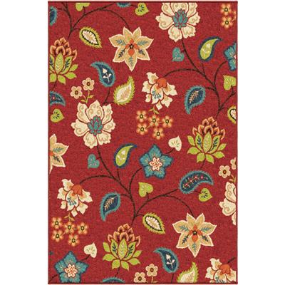 "2313 5X8 Garden Chintz Red 5'2"" x 7'6"" Veranda"