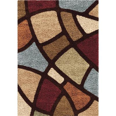 "3708 5x8 Circle Bloom Multi Brown 5'3"" x 7'6"" Impressions Shag"